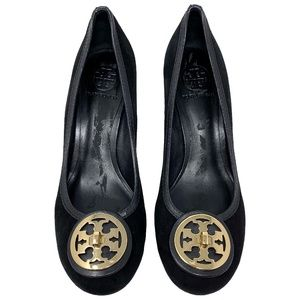 Tory Burch Suede Selma Logo Pumps